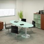 Ovale vergadertafel glas